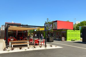 Restart Container Shops have been relocated to the Western End of Cashel Street Mall in Christchurch, New Zealand